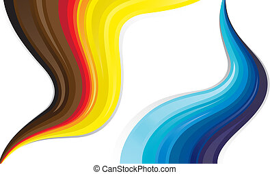 Abstract colorful wavy lines of flowing liquid