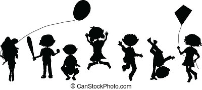 silhouettes cartoon crowd playing