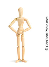 Wooden figure on white background isolated