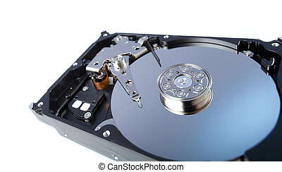 disassemled hard disc closeup isolated on white. wide angle lens