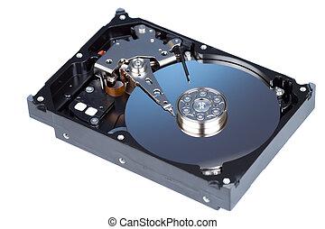 disassemled hard disc isolated on white