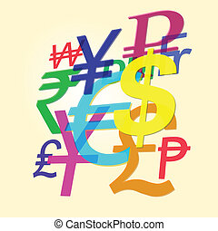 Symbols of world currencies - The symbols of the dominant...