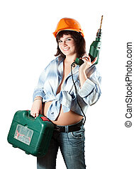 girl with drill over white background - beauty girl with...