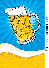 beer - mug and background - golden light draft beer - in...