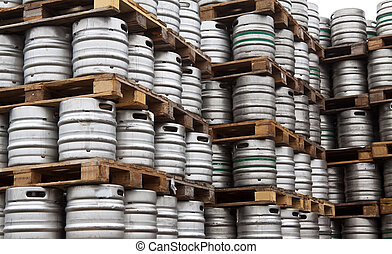 Beer kegs in rows outdoor