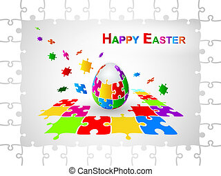 Easter Egg Jigsaw Puzzle Background. Vector