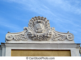 portico roof of building in baroque