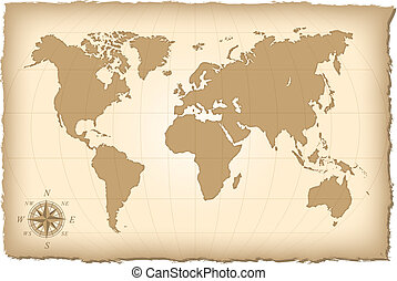 An old map of the world. Vector illustration.
