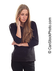 Girl talking on the phone photography studio