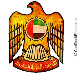 united arab emirates coat of arms - old isolated over white...