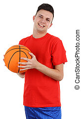 basketball player - A basketball player, isolated on white