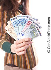 woman detail with group of Euro bills in her hands