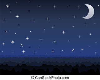 Night sky - Silhouette of mountains and night sky with stars...