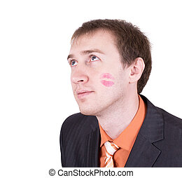 Close up of amazed kissed man face in business suit isolated on white background.