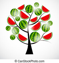 Tree from watermelon. Vector illustration.