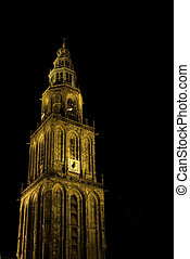 Martinitower at night - Famous Martinitower of Groningen at...