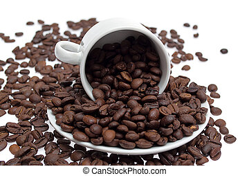 coffee beans in a cup isolated on white background