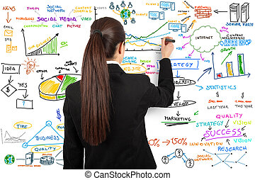 Modern business concept - Businesswoman draw modern business...