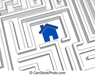 blue house symbol in labyrinth
