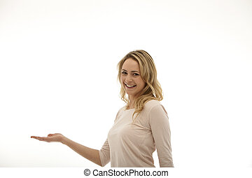 woman holding her right palm up on a white background