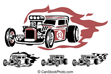Vector hotrod - vector illustration of hotrod
