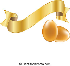 Easter golden eggs with ribbon