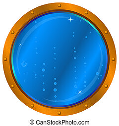 Window with air bubbles - Ship window - porthole with blue...