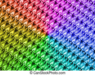 abstract rainbow industrial metal grid construction -...