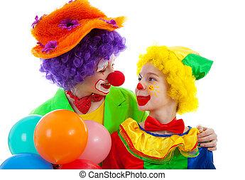ENGRAÇADO, coloridos, vestido, dois, Palhaço, balões,...