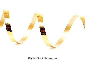 Golden streamer over white background - Golden curly...