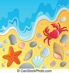 Beach with shells and sea animals 1 - vector illustration.