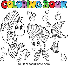 Coloring book two cute goldfishes - vector illustration.