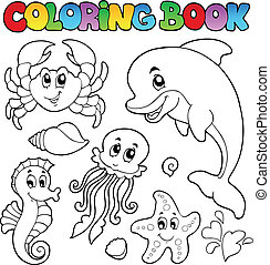 Coloring book various sea animals 2 - vector illustration