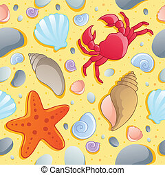 Beach theme seamless background 1 - vector illustration