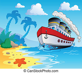 Beach theme scenery 5 - vector illustration.