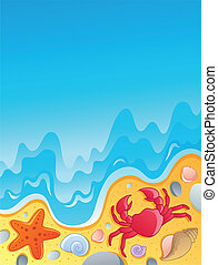 Beach with shells and sea animals 2 - vector illustration.