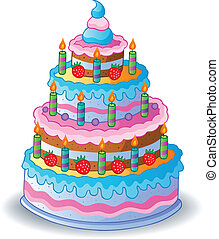 Decorated birthday cake 1 - vector illustration