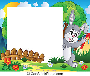Frame with Easter bunny theme 1 - vector illustration.