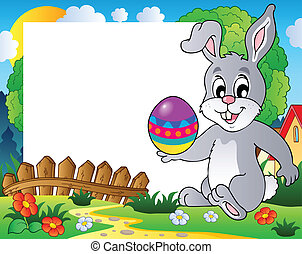 Frame with Easter bunny theme 3