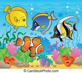 Fish theme image 3 - vector illustration.