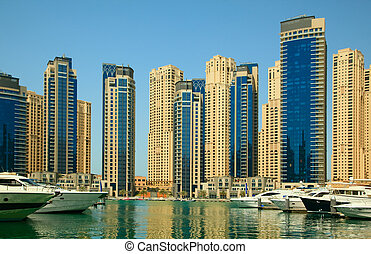 Dubai, UAE. Town scape at summer. Panoramic scene.