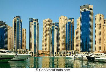 Dubai, UAE. Town scape at summer. Panoramic scene.