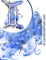 Art Gemini - Gemini sign against bright watercolour...