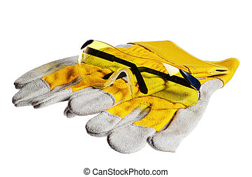 Yellow working goggles and gloves, it is isolated on white
