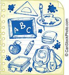 Notepad page with school drawings 1