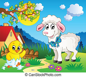 Scene with spring season theme 3 - vector illustration.