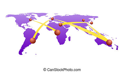 Global network on world map