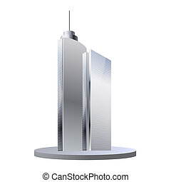 Office buildings isolated - Tall skyscrapers with modern...