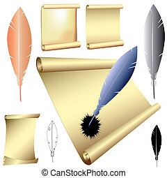 vector quills and scrolls
