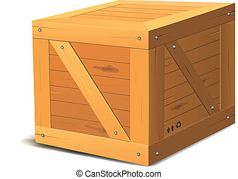 Wooden Box - Illustration of a cartoon wooden cube package